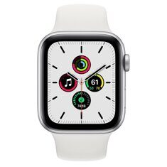 Apple Watch SE GPS 44mm Aluminum Case with Sport Band (серебристый / белый)