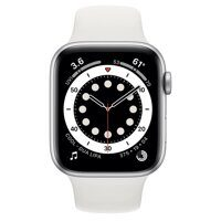 Apple Watch Series 6 GPS 44mm Aluminum Case with Sport Band (серебристый / белый)